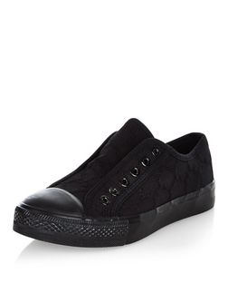Black Crochet Laceless Plimsolls | New Look
