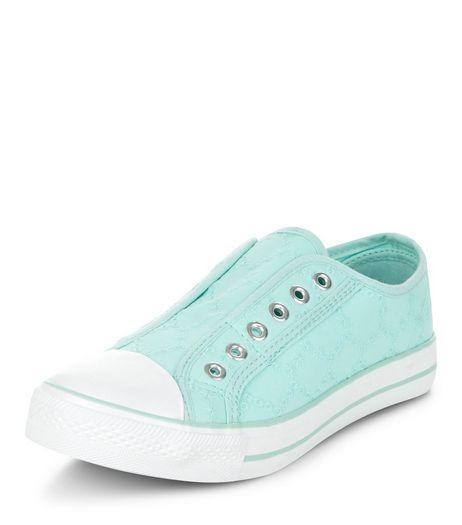 Teens Mint Green Crochet Laceless Plimsolls  | New Look