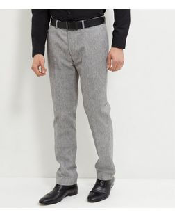 Grey Herringbone Slub Trousers  | New Look