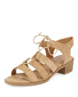 Stone Suedette Ghillie Sandals  | New Look