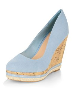 Blue Canvas Cork Wedges  | New Look