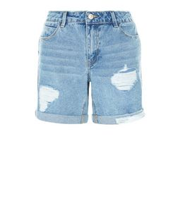 Pale Blue Ripped Turn Up Denim Shorts  | New Look