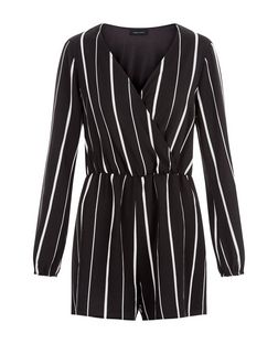 Black Stripe Wrap Front Long Sleeve Playsuit  | New Look