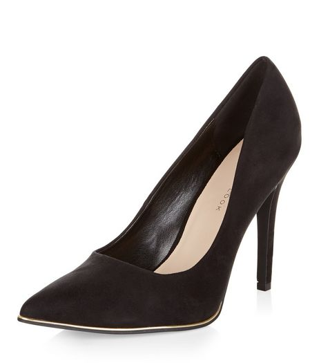 Wide Fit Black Suedette Metal Trim Pointed Heels  | New Look