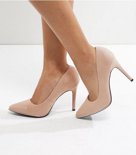Wide Fit Dark Mink Suedette Metal Trim Pointed Heels | New Look
