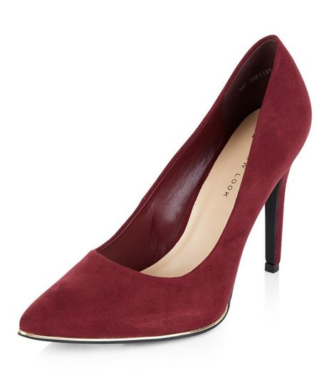 Wide Fit Dark Red Suedette Metal Trim Pointed Heels | New Look