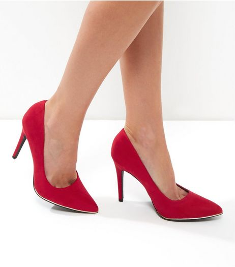 Wide Fit Red Suedette Metal Trim Pointed Heels | New Look
