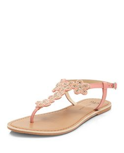 Teens Coral Leather Beaded Flower Sandals  | New Look