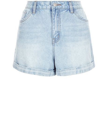 Pale Blue Turn Up Mom Denim Shorts  | New Look