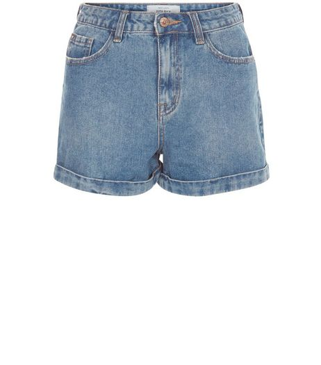 Blue Turn Up Mom Denim Shorts  | New Look