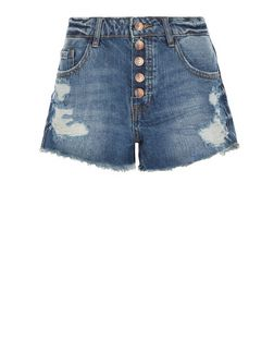 Blue Button Front Denim Shorts  | New Look