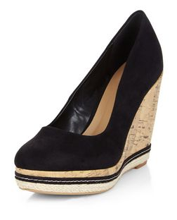 Black Suedette Cork Wedges  | New Look