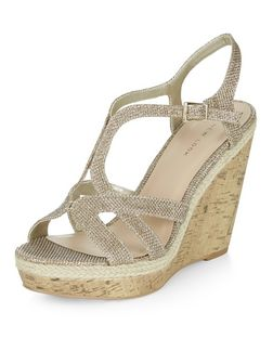 Gold Shimmer Strappy Wedge Sandals  | New Look