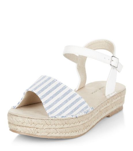 Blue Stripe Espadrille Flatform Sandals  | New Look