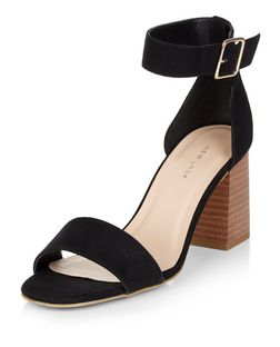 Black Suedette Contrast Heeled Sandals  | New Look