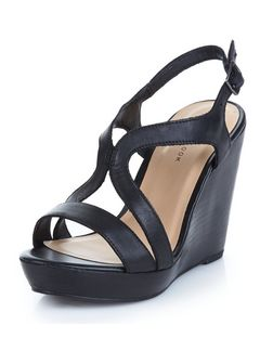 Black Leather Strappy Wedge Sandals  | New Look