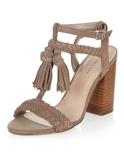 Light Brown Suede Fringe Trim Heeled Sandals  | New Look