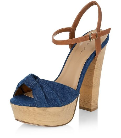Navy Denim Knotted Platform Heels  | New Look