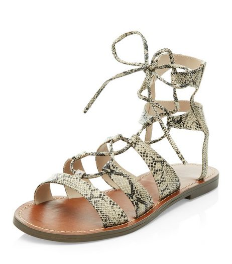 Black Snakeskin Print Ghillie Sandals  | New Look