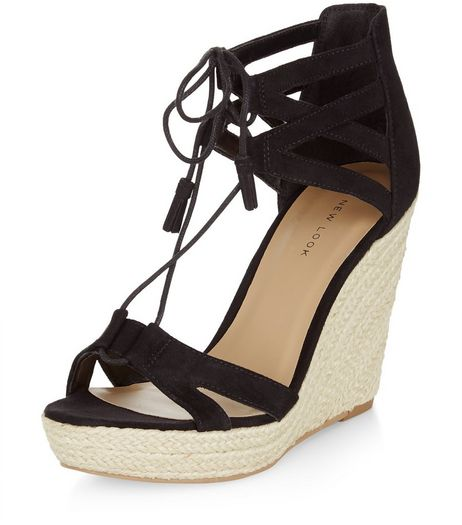 Black Suedette Ghillie Wedges  | New Look