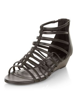 Black Strappy Wedge Sandals  | New Look