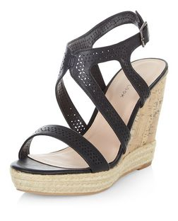 Black Laser Cut Out Strappy Wedge Sandals  | New Look