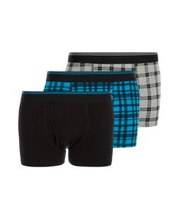 3 Pack Black Blue and Grey Gingham Check Boxer Shorts  | New Look