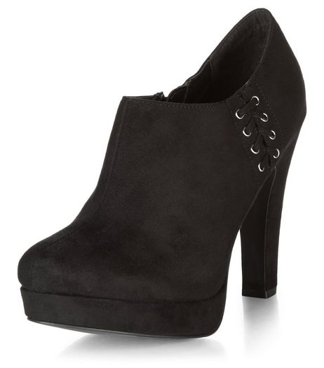 Black Suedette Lace Up Side Shoe Boots  | New Look