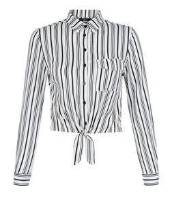 Teens White Stripe Tie Front Shirt | New Look