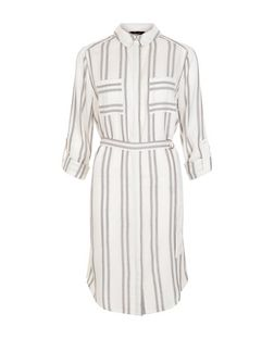 White Woven Stripe Double Pocket 3/4 Sleeve Shirt Dress | New Look
