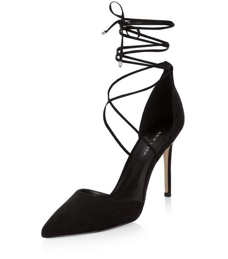 Black Suedette Lace Up Pointed Heels  | New Look