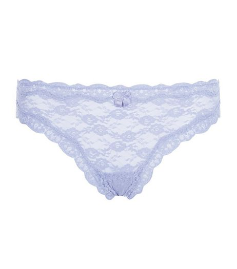 Light Purple Lace Thong | New Look