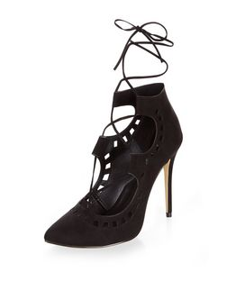 Black Suedette Laser Cut Out Pointed Ghillie Heels | New Look