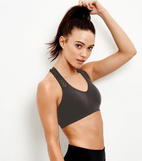 Black Cut Out Seamless Push Up Sports Bra | New Look