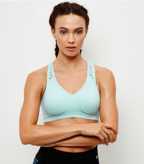 Mint Green Cut Out Seamless Push Up Sports Bra  | New Look