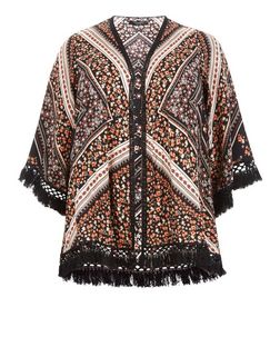 Curves Black Floral Print Fringed Kimono | New Look