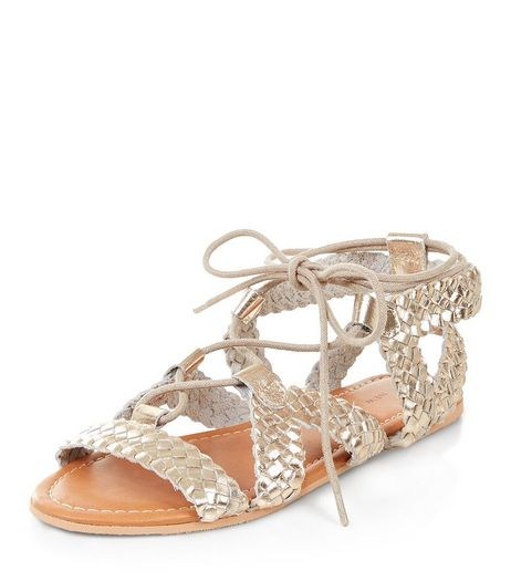 Gold Leather Plaited Ghillie Sandals  | New Look