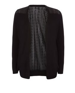 Curves Black Lace Panel Cardigan  | New Look
