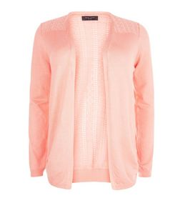 Plus Size Coral Lace Panel Cardigan  | New Look
