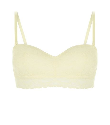 Yellow Lace Moulded Bandeau Strapless Bra | New Look