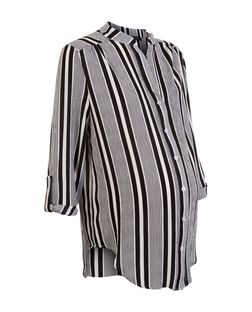 Maternity Black Stripe Roll Sleeve Shirt | New Look
