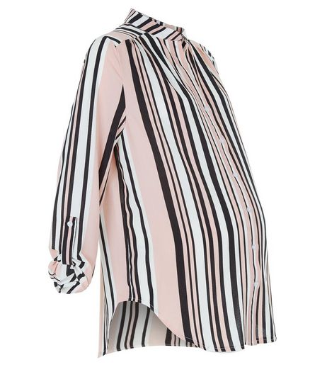 Maternity Pink Stripe Roll Sleeve Shirt | New Look