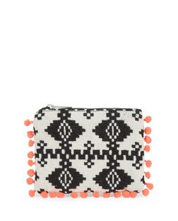 Black Aztec Knit Pom Pom Trim Zip Top Coin Purse  | New Look