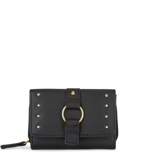 Black Studded Buckle Purse  | New Look