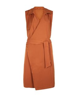 Anita and Green Orange Sleeveless Waterfall Trench Coat  | New Look