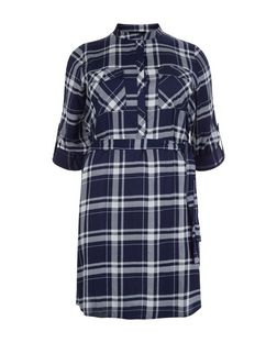 Plus Size Blue Check Grandad Collar Shirt Dress  | New Look