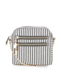 Black Stripe Square Across Body Bag  | New Look