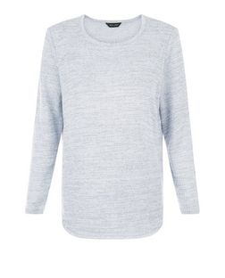Pale Blue Jacquard Long Sleeve Top  | New Look