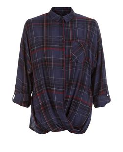 Blue Check Wrap Roll Sleeve Shirt  | New Look