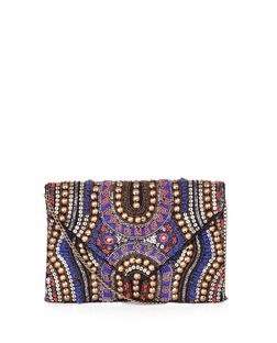 Blue Tribal Beaded Clutch  | New Look